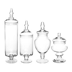 Mygift Large Glass Lid Apothecary Jars Candy Containers Set Of 4 Bathroom