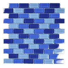 "12""x12"" Glass Tile Blends Crystal Series, Cobalt Blue Blend"
