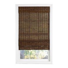 "Cordless Cocoa Havana Flatweave Bamboo Roman Shade, 30"""