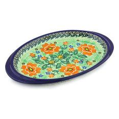 "Polish Pottery 9"" Stoneware Saucer Tray Hand-Decorated Design"