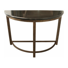 Designe Gallerie   Semi Circle Metal Console Table With Marble Top   Console  Tables