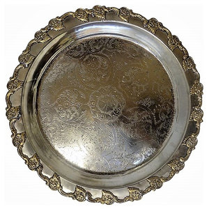 "Antique 20"" Traditional Moroccan Engraved Two Toned Finished Serving Tray"