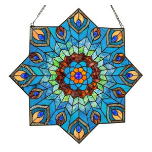 """24"""" Tiffany Style Stained Glass Peacock Star Window Panel"""