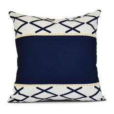"Knot Fancy, Geometric Print Outdoor Pillow, Navy Blue, 20""x20"""