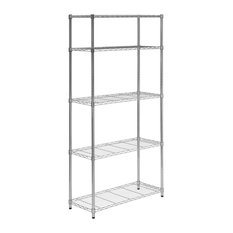 "Honey Can Do 35.9"" Lx13.8"" Wx72"" H 5-Tier Chrome Shelving Unit"