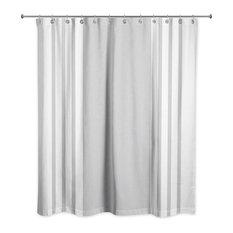 Farmhouse Stripe Shower Curtain, Gray