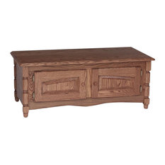 The Oak Furniture Shop   Solid Oak Country Style Coffee Table With Storage, Golden  Oak