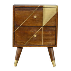 Nordic Style Chestnut Bedside with Gold Detailing, Chestnut