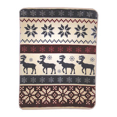 Shavel Home Products - Reindeer Stripe High-Pile Oversized Throw - Throws