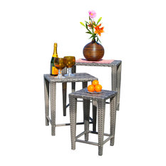 GDFStudio   Sidney Outdoor Gray Wicker Nested Tables, 3 Piece Set   Outdoor  Side