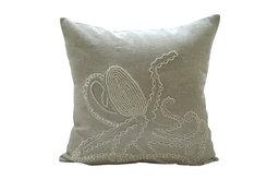 "Luxury Octopus Ecru Euro Shams Covers, Cotton Linen 26""x26"" Euro Shams, Octopus"