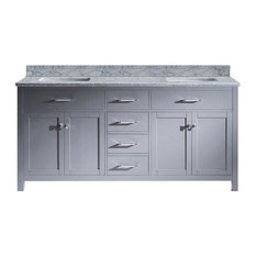 Belle Bluff Double Vanity Set, Gray, White Square, 72""