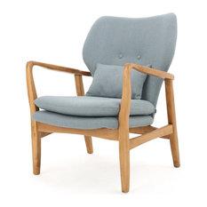 GDF Studio Kama Accent Armchair, Light Blue/Walnut