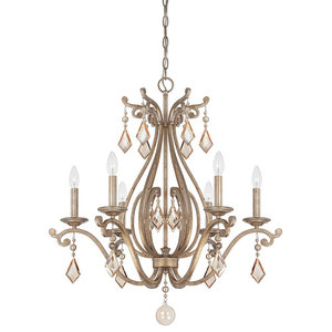 "Chandelier 6-Light With Oxidized Silver Finish Candelabra Bulbs 28"" 360W"