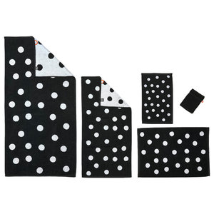 Dots Towel Collection, Black and White, Set of 5