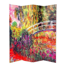 6' Tall Double Sided Works of Monet Canvas Room Divider 4 Panel