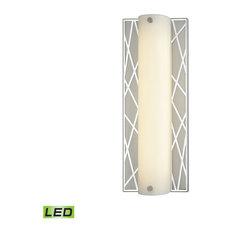 Art Deco 1 Light Vanity Light in Polished Stainless, Matte Nickel Finish