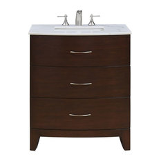 "Elegant Furniture & Lighting - Bauhaus 30"" Single Bathroom Vanity Set, Brown - Bathroom Vanities and Sink Consoles"