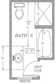 Can i comfortably fit a shower tub for Bathroom layout ideas 5 x 7