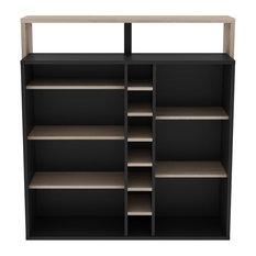 Piano 7-Nook Bar Unit, Wood and Black