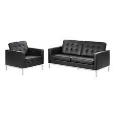 LexMod - Loft 2-Piece Leather Loveseat and Armchair Set, Black - Living Room Furniture Sets