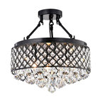 4-Light Antique Black Semi Flush Mount Beaded Drum Crystal Chandelier