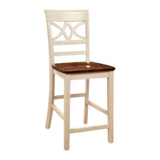Torrington II Cottage Counter Height Chair With Wooden Seat Vintage White & Oak