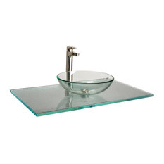 "Fizzee Texture Aqua Clear Glass Vanity Top, 3/4""x22""x73"""