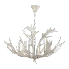Birch Antler Chandelier in White