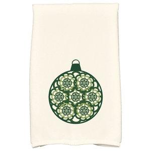 Snowflake Bulb Holiday Geometric Print Kitchen Towel, Dark Green