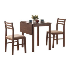 32.5-inch Walnut Solid Wood MDF And Beige Polyester Three Pieces Dining Set
