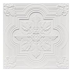 "Large Snowflake, Faux Tin Ceiling Tile, 24""x24"", #206, White Matte"