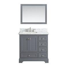 """Jocelyn Bathroom Sink Vanity Set, White Marble Top, Base: Charcoal, 36"""""""