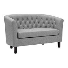 Nicole Upholstered Fabric Love Seat/Light Gray