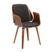 Sumas Mid-Century Dinning Chair, Charcoal Fabric, Walnut Veneer