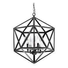 4-Light Geometric Iron Antique Black Glass Shade Cage Chandelier