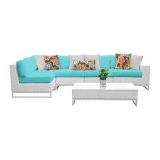 Key Largo 6-Piece Outdoor Wicker Patio Furniture Set, Aruba