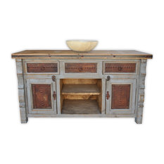 Rancho Collection Marshall Vanity With Metal Inserts Gray 60 Bathroom Vanities