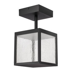 Reveal Outdoor Square LED Semi-Flush, Black, Seeded Glass