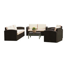 Patio Sofa, Loveseat, Two Chair and Coffee Table, Brown, Cajun Red Cushion