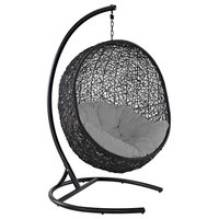 Encase Swing Outdoor Wicker Rattan Lounge Chair, Gray