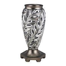 "15.75"" Tall Polyresin Decorative Vase ""Kiara"", Silver Peacock Feathers Design"