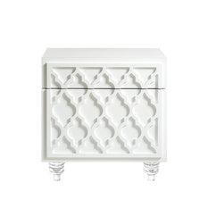 Henie Trellis Design Lacquer-Finish Lucite Leg Side Table, White