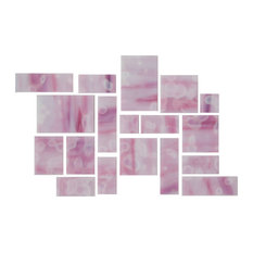 susan jablon - One Sheet Of White Opal and Rose Quartz Pink Tiffany Inspired Hand Cut Glass - Wall A