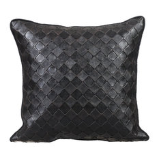 "Black Leather Pillows Faux Leather 20""x20"" Couch Pillows, Textured Decor Pillow"