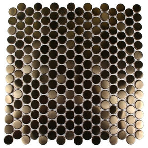 """Stainless Steel 0.75""""x0.75"""" Metal Mosaic Tile, Brushed Copper"""