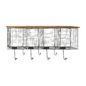 Beautiful Unique Wood Metal Wire Mesh Wall Pocket with Seven Metal Hooks Decor
