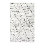 Machine Made Transitional Abstract Leaves Rug, 5'x8'