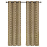 """Royal Tradition - Willow Thermal Blackout Curtains With Grommets, Set of 2, Taupe, 84""""x96"""" - Add splendor and classiness to any room with these dazzling jacquard panels. The stylish geometric pattern of these floor-length curtains conveys a refined and classic look to your home. Containing a pole pocket design, these jacquard curtains are well-suited with traditional curtain rods, allowing you to change your room easily. This trendy and functional curtain panel pair is thermal-insulated, blocks out the glaring sunlight during the hot summer months, and keeps cold drafts adrift. Block unwanted light and protect your room against outside temperatures with these thermal blackout curtains. These energy saving curtains are both beautiful and practical. The simple, attractive styling complements any decor, and the grommet top offers easy installation. Slip a decorative rod through the grommets to quickly create a classic gathered look. The curtains are machine washable for easy care."""