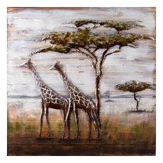 Serengeti Metal on Wood Wall Art - Multi